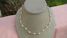 "BEAUTIFUL 14K YELLOW GOLD WITH NATURAL SALT WATER PEARLS 18"" NECKLACE"