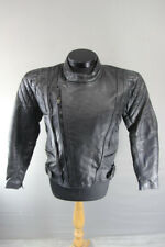 SPADA BLACK LEATHER BIKER JACKET + REMOVABLE BACK/SHOULDER/ELBOW CE ARMOUR 36 IN