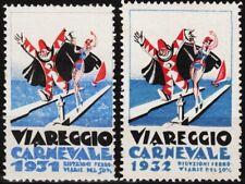 2 alte reklamemarken 1931/1932 karneval in viareggio                       /0922