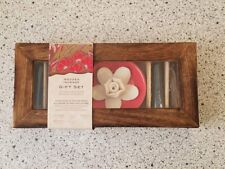 Wooden Incense Gift Set With Ceramic Flower Ash Catcher New
