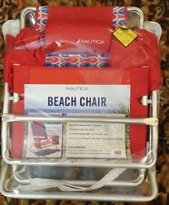 Nautica Reclining Folding Beach Chair w/Cooler & Cup Holder, 1 Fish 2 Fish