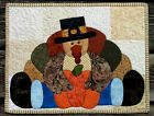 Handcrafted Quilted Appliqued Table Runner Topper - THANKSGIVING TURKEY PILGRIM