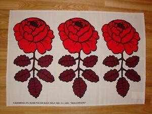 NEW, MARIMEKKO Maalaisruusu RED FABRIC TEA TOWEL 1965 VTG DESIGN BY MAIJA ISOLA