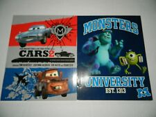 Set of 2 * CARS 2 * MONSTERS UNIVERSITY 2-Pocket PORTFOLIO FOLDER School NEW