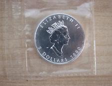 Canada: 1990 € 5 MAPLE LEAF, 1 Oncia Troy di puro argento, in confezione zecca