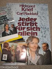 JEDER STIRBT FÜR SICH ALLEIN -19 Fotos + 2 Plakate HILDEGARD KNEF & CARL RADDATZ