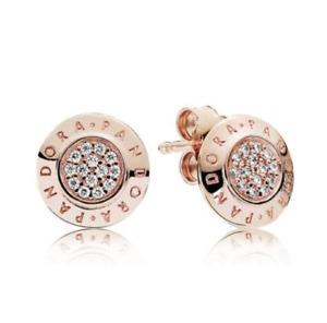 PANDORA Genuine Rose Gold Signature Logo Clear CZ # 280559CZ Stud Earrings New