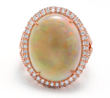 8.60Ct Natural Australian Opal and Diamond 14K Solid Rose Gold Ring