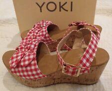 NIB Yoki Carrin RED PLAID GINGHAM Wedge Sandals w/Bow Womens 7 M