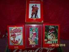 Mint New Coca Cola BARBIE SET Box Bottle Glass Coke 4 Fashion Santa Doll LTD NIB