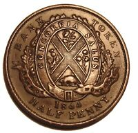 OLD Canadian Coins 1844 HALF PENNY BANK TOKEN