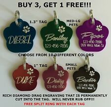 Custom Engraved Paw Print Pet Tag Dog Cat ID Name Animal - 10 COLORS