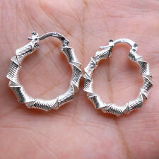 925 Sterling Silver Plated Women Fashion Hoop Dangle Earring Studs Jewelry HE005