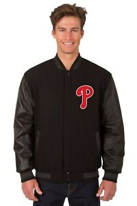 Philadelphia Phillies Wool & Leather Reversible Jacket with Two Front Logos Blck