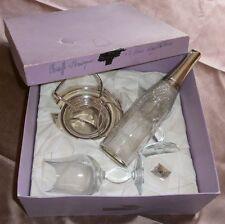 Chauffe fine métal argenté perles + verres  - Cadeau bouteille cristal & argent