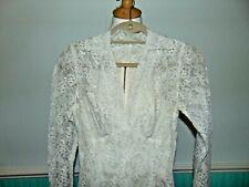 Vintage 1950s white lace wedding dress Princess Style ankle length size 6/8 UK