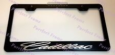 """Cadillac "" LASER Style Black Stainless Steel License Plate Frame W/ Bolt Caps"