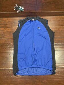 Pearl Izumi Cycling Jersey UltraSensor Sleeveless Men's XL Blue Black 3/4 Zip