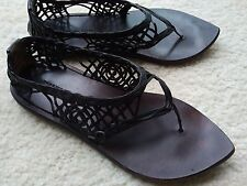 Dries Van Noten Italy all-leather strappy woven sandals 7 black brown flats shoe
