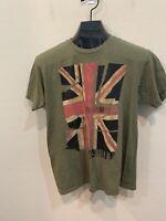 Ben Sherman Olive Green London Union Jack British Flag T-Shirt Men's Size M
