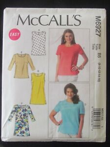 McCALL'S PATTERN - 6927 LADIES TOP TUNIC SHAPED HEMLINE CUP OPTIONS 8-16 UNCUT