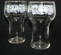 """2 Vintage 1970s Pepsi-Cola Bell Glasses ~ 6"""" Tall ~ Great Triple Graphics"""