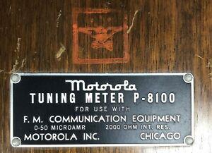 Vintage Motorola Tuning Meter P-8100 FM Communication Equipment Wood Box 1940's