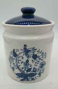 """Vintage ceramic Blue flower design Canister  Pottery Japan 6"""" tall beautiful"""
