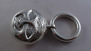 VERY NICE SOLID STERLING SILVER MAN IN THE MOON  BABY RATTLE