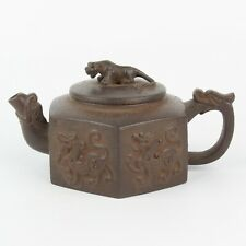 Antique Chinese Collection Carved Beast Yixing Zisha Pot Teapot