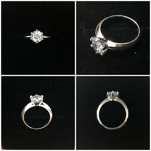 1 Carat CZ Solitaire Engagement Ring Sterling Silver Platinum Plated 6 Claws
