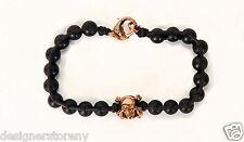 Stephen Webster Alchemy Black Leather onyx bracelet 18kt Rose Gold plated skull
