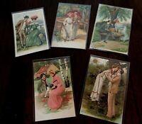 Lot of 5 Victorian Romance ~Romantic Greetings~Postcards ~Men~Pretty Ladies-g374