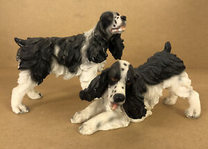 """2 Pack Of Beswick England Cocker Spaniel Approx. 5.5"""" / 4"""" Tall Black & White."""
