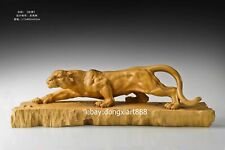 73 cm Chinese Boxwood Masterwork leopard panther foraging Animal Wood sculpture