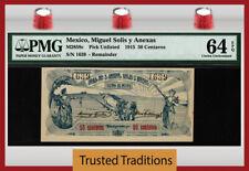 TT PK UNL 1915 MEXICO MIGUEL SOLIS & ANEXAS 50 CENTAVOS PMG 64 EPQ CHOICE UNC