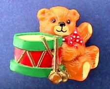 Lucy & Me Pin Christmas Vintage Drummer Teddy Bear Rigg Enesco Holiday Brooch