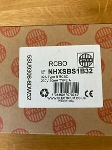 Wylex 32A NHXSBS1B32 Compact 1 Module B06 30mA RCBO Brand New in Box 32AMP