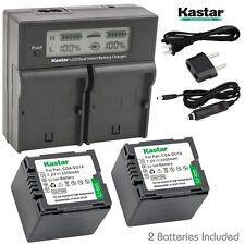 LCD Dual Charger & 2 Battery Panasonic CGR-DU14 NV-GS508 NV-MX500A PV-GS19 GS29