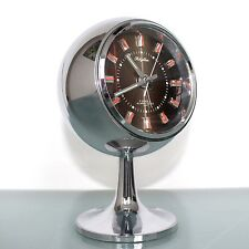 RHYTHM ALARM CLOCK 51129 TOP FULLY CHROME Pedestal Space Age RETRO Japan Vintage