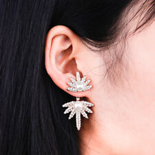 CZ Crystal Spike Flame Star Pearl Stud Gold Ear Jacket Cuff Earrings Wedding