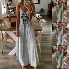 Women Summer Straps Casual Long Maxi Dress Evening Party Cocktail Beach Sundress