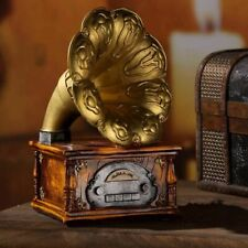 Gramophone Music Box Ornaments Resin Miniature Model Vintage for Cafe Decoration