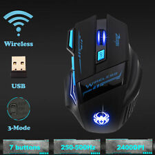 Wireless LED Gaming Mouse Mice 7 buttons Adjustable 2400DPI For Laptop PC