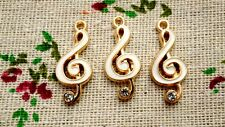 Music note treble clef charm white & gold pendant charm jewellery supplies C732