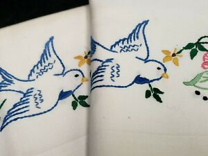 Vintage Pillowcases Bluebird Flowers 1950s Hand Embroidered Crocheted Estate