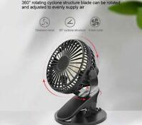 360°Portable Cooling Fan USB Rechargeable Clip On Mini Desk Air Fan Pram Desktop