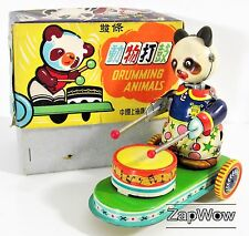 DRUMMING ANIMALS 1960s PANDA Cure The 13th Wild Mood Swings Wind-Up Tin Toy VTG