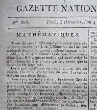 Journal révolutionnaire Gazette Nationale Moniteur Universel mai septembre 1796
