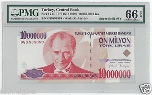 1999 TURKEY 10000000 LIRA  #G88 888888  PMG-66 GEM UNCIRCULATED  SUPER SOLID 8's